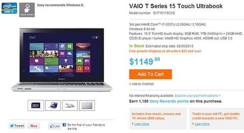 触控版索尼T14/T15美国预购 770美元起