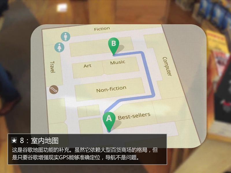谷歌眼镜特有的室内地图导航界面