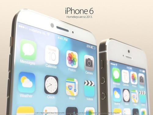 这款概念版iPhone6机身长宽和iPhone5s基本相同,但变得更薄、屏幕边框更窄、且取消了Home按键,前置摄像头也挪到了听筒左侧,使得屏幕更大。其整体设计基本就是iPhone5s和iPad mini的结合体。不过说实话,苹果应该不会轻易就取消刚刚加入的指纹扫描,而且目前的iOS系统也不适合这么做,所以估计iPhone6还是会有Home按键的。