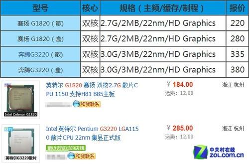 和奔腾G3220谁更值得买?赛扬G1820评测