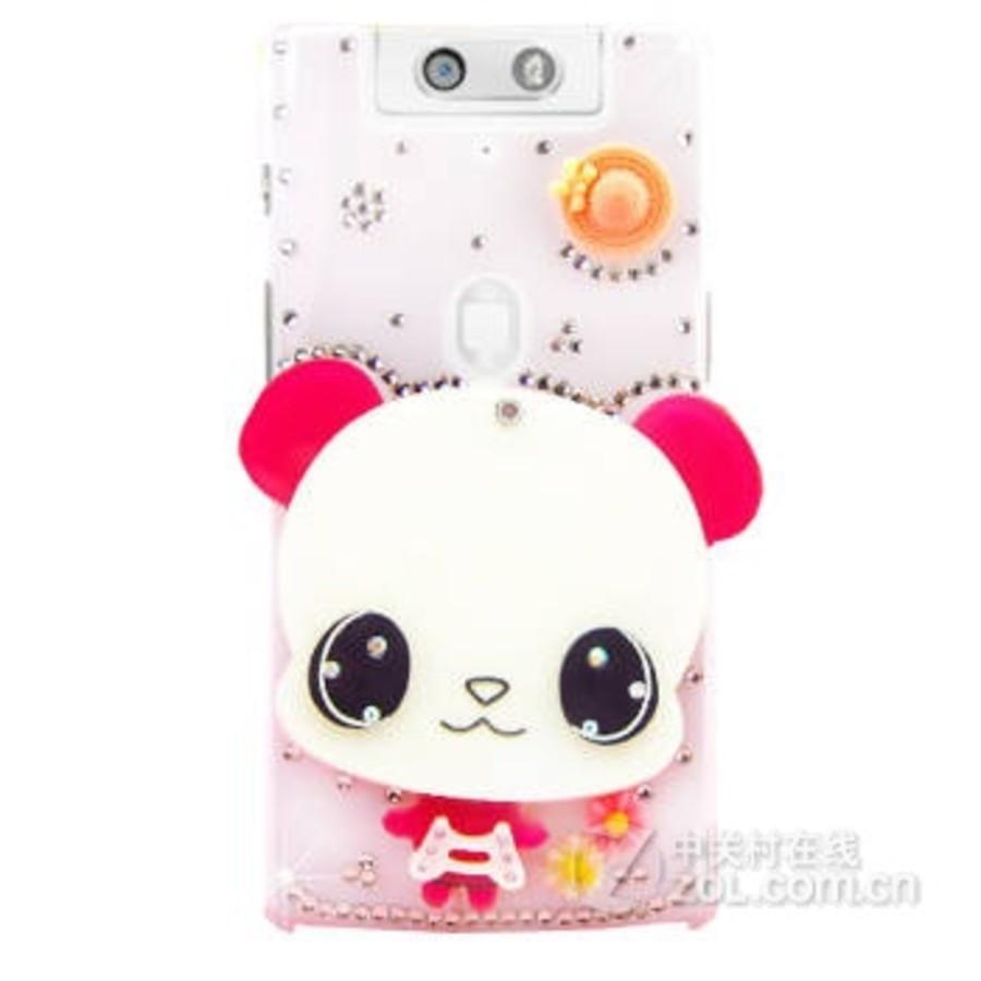 奈品可爱卡通水钻镜子保护壳手机套适用于oppo n3/n5207 玫红色大眼熊