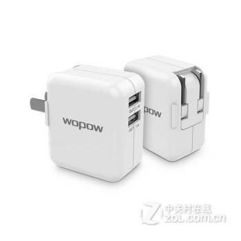 wopow 多口充电器插头 电源适配器 5v2a充电头 白色 双usb