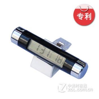 捷欧得 汽车电子表车用电子钟表液晶夜光时间表时钟 时间温度计二合一