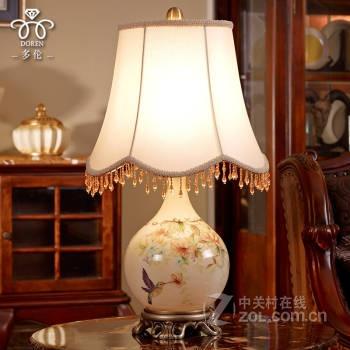 多伦doren 美式装饰台灯 个性欧式田园卧室台灯床头灯创意时尚 现代简