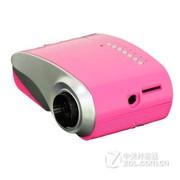 Rigal 802 迷你 家用LED微型投影仪 便携投影机连 电脑U盘TV手机投影仪 粉红色 套餐四