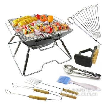 便携折叠烧烤架户外 野外烧烤工具套装