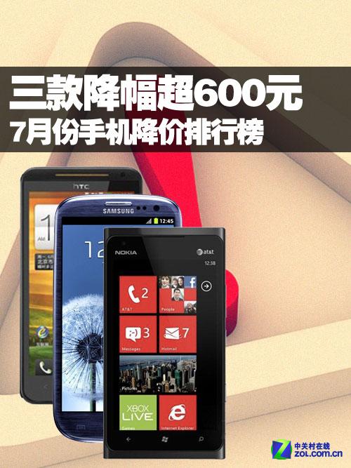 三款降幅超600元 7月份手机降价排行榜