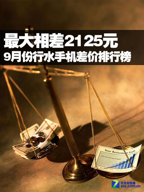最大相差2125元 9月行水手机差价排行榜