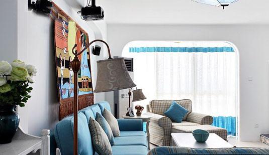 蓝色沙发配窗帘效果图