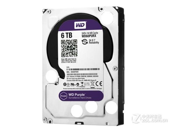 西部数据6TB 64MB SATA3 紫盘(WD60PURX)