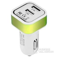 柏汉森车载充电器 双USB输出 方头-绿色