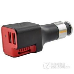 水草人车充双usb输出车载充电器 适用于苹果/三星/小米/华为等手机平板 车载净化功能 黑红